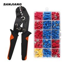 SN-02C mini hand Crimping Tool 0.25-2.5mm² Adjustable Crimper pliers with 280pcs Cable Lugs Assortment Kit wire crimp set