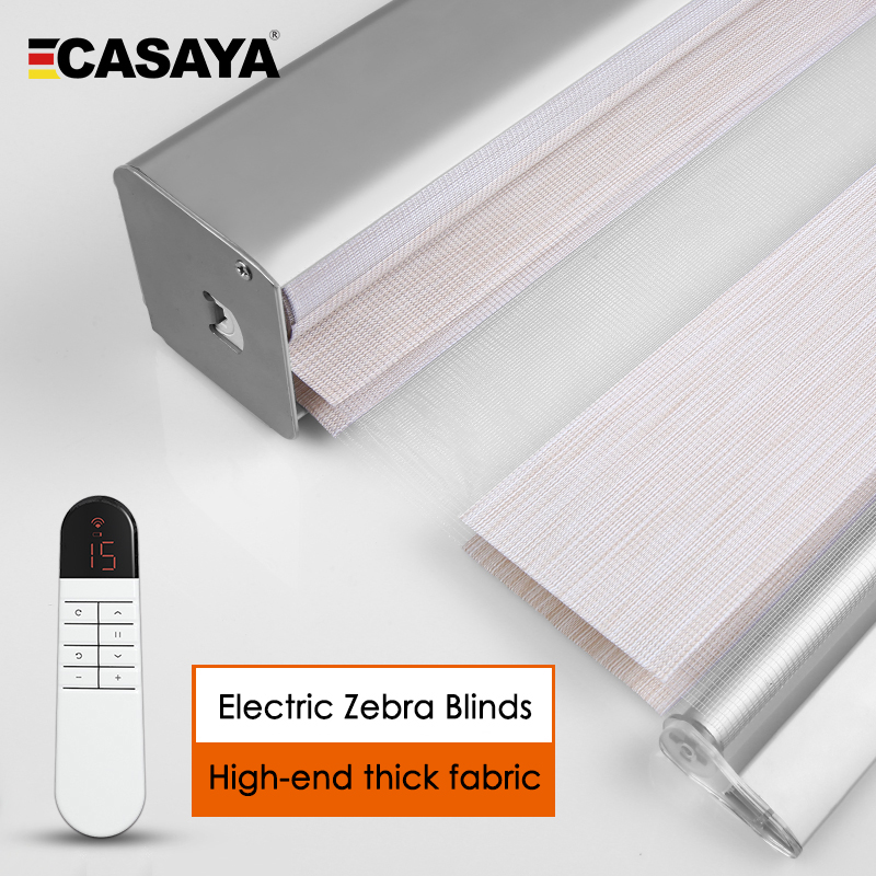 CASAYA Electric zebra blinds with square dust cover Thick fabric smart window curtains by remote control office bedroom