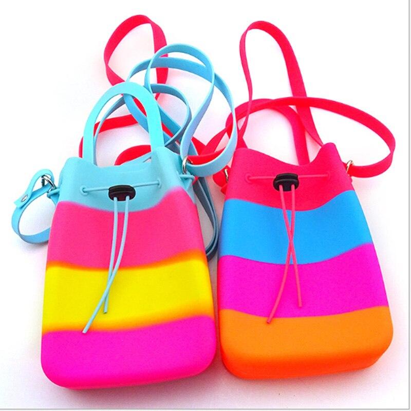 Children Drawstring Bag Silicon Shoulder Bag Girl Swim Bag For Kids Seaside Waterproof Camping Bag Rainbow Color
