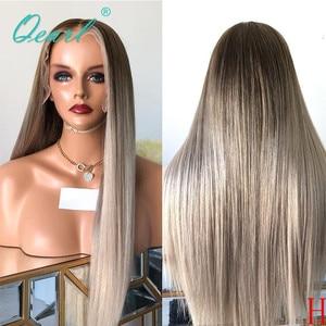 Ashy, peluca de pelo humano de Color rubio, peluca de pelo liso brasileño Ombre, pelucas de pelo Remy 150% 180% de separación profunda, qpearl