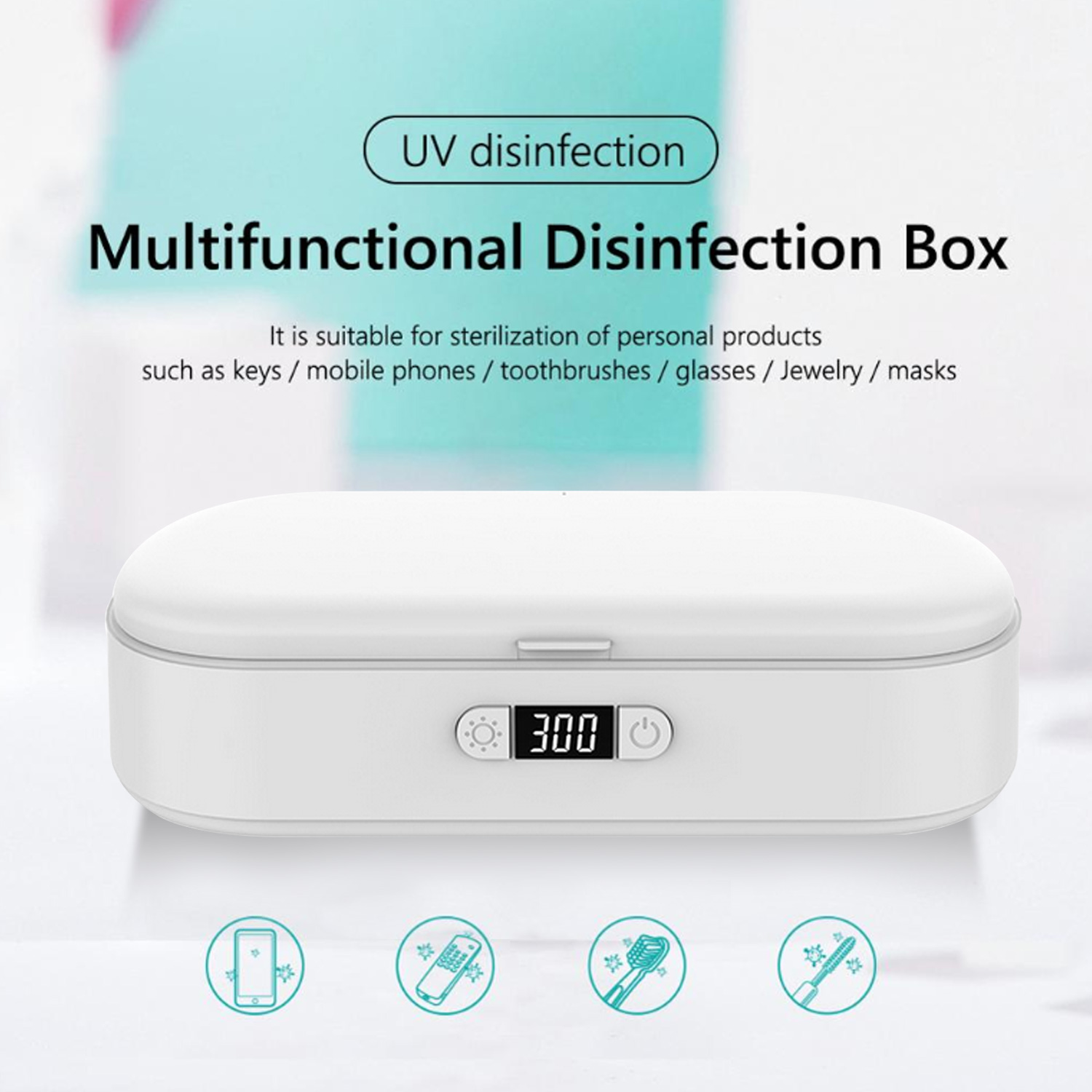 Vococal Sterilizer Box Portable Mobile Phone UV Light Sterilizer Cleaner with Wireless Charger Function for Phone Toothbrush image
