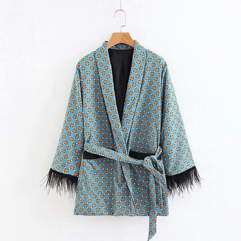 SHENGPALAE Fashion 2020 Arrival Blue Printed Kimono Jacket Wide Leg Loose Casual Trousers Women Vintage Clothing Suits ZA2598