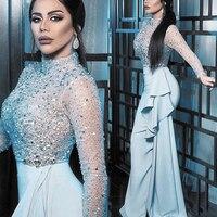 SuperKimJo Vestidos Formales High Neck Beaded Evening Dresses Long Sleeve Sparkly Crystals Light Blue Evening Dresses