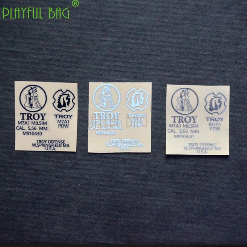 DIY Stickers For Outdoor Sports Trojan Metal Stickers Kaming 9 Generation Scar M4 Metal Stickers HK416 Water Bomb Lehui AK L58