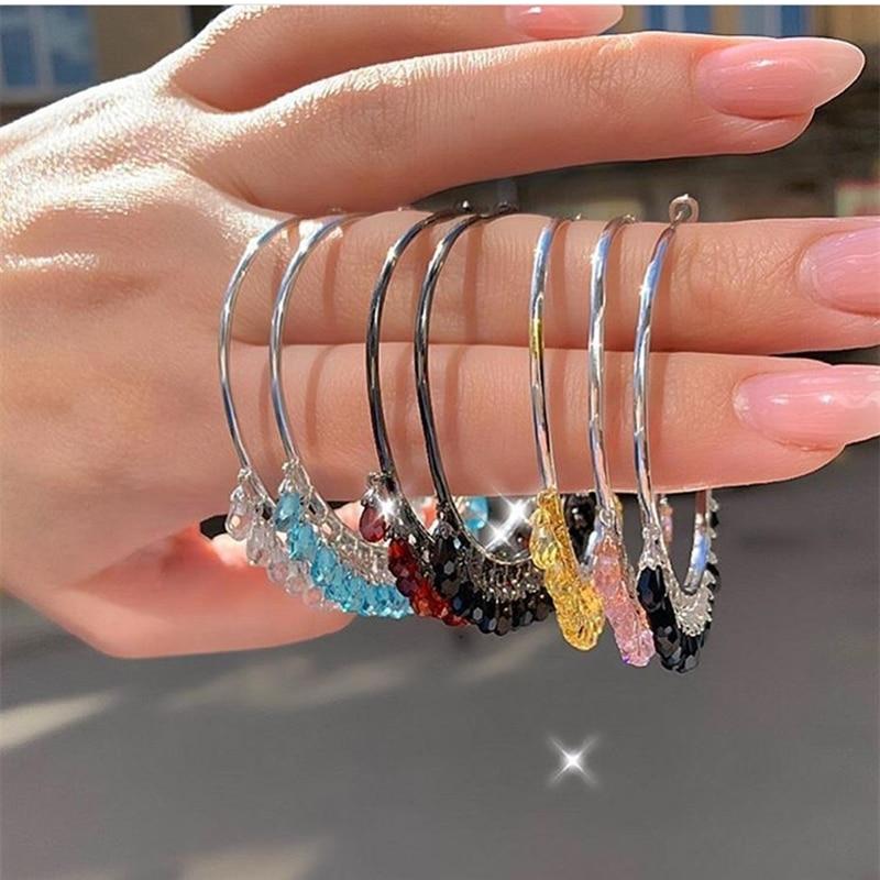 Elegant Vigorous Lady's Big Hoop Earrings with Colorful Crystal Water Drops Retro-vintage Modern 925 Sterling Silver Earrings