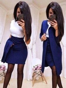 Image 3 - Trajes nuevos de oficina para mujer, vestido Formal, ropa de negocios, Chaqueta larga para mujer, vestido de vaina, conjuntos de 2 piezas, 2019