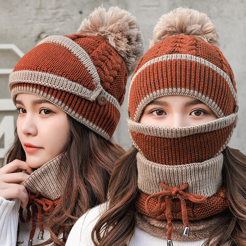 Winter Thick Plus Cashmere Warm Masks Hat Scarf Autumn Winter Women's Knit Hat Wool Ball Cover Ear Collar Three