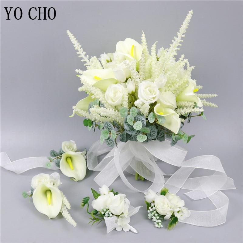 Wedding Aritificial Flowers Bridesmaids Wrist Bracelet Girls Hand Flowers Grooms Boutonniere Wedding Flowers Bouquet Party Decor