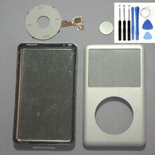 Gümüş ön Faceplate gümüş arka kapak konut beyaz Clickwheel gümüş düğme iPod 6th 7th gen klasik 80gb 120gb 160gb
