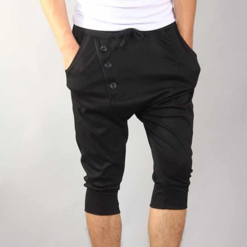 夏の韓国の男性黒のカジュアルなハーレムパンツ原宿薄型ふくらはぎ丈鉛筆のズボンファッション屋外スリムフィットショートパンツ男性