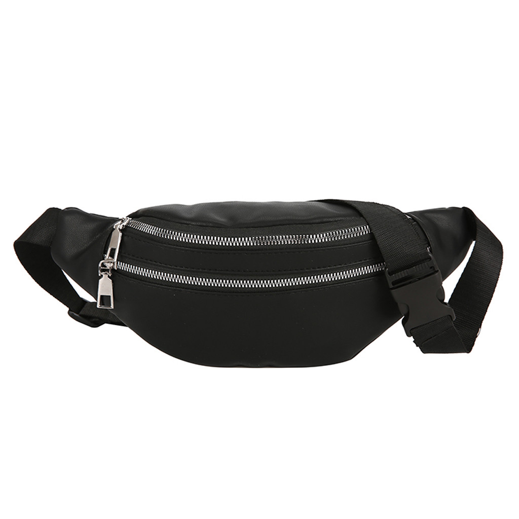 Unisex Fashion Waist Bag Double Zipper Bags Leather Shoulder Bags Crossbody Bag Chest Bags Solid Color Diagonal Bag Pocket