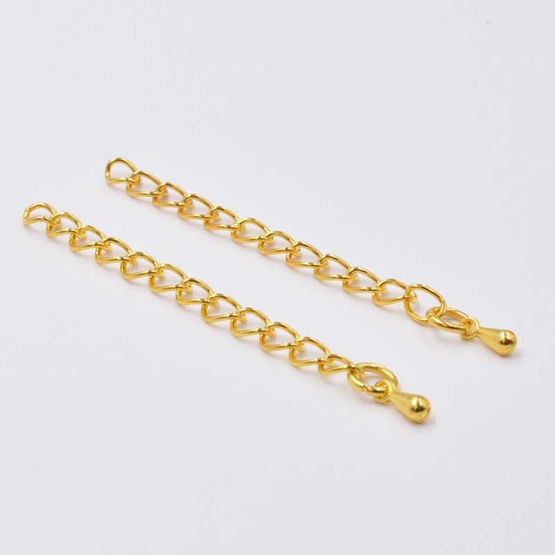 20 قطعة 50/70 مللي متر الذهب/الفضة مطلي قطرة الماء نهاية الخرز مع تمديد تمديد الذيل سلسلة موصل لصنع المجوهرات النتائج
