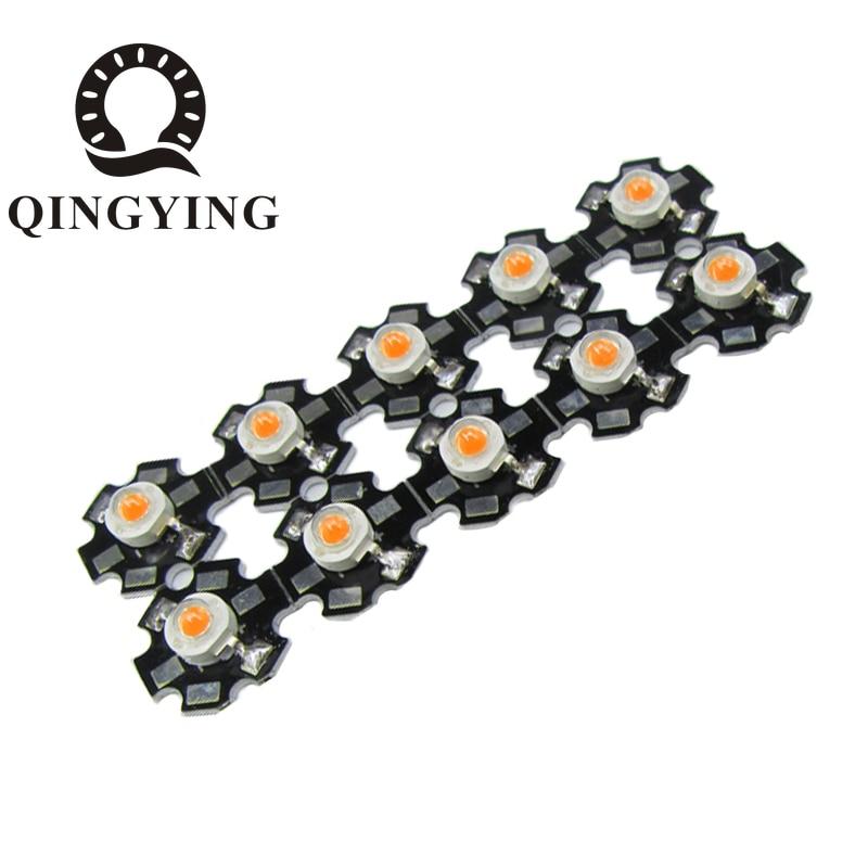 10pcs 1W 3W High Power LED Beads With 20mm White Black Star PCB Heatsink Full Spectrum White Green Blue Deep Red 660nm Yellow