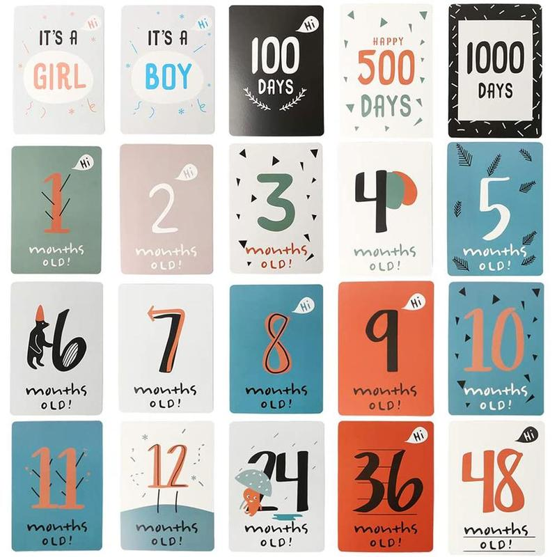 20pcs/set Baby Photo Commemorative Card Month Sticker Gifts Baby Growth Milestone Photography Props Birth Month Days Number Card