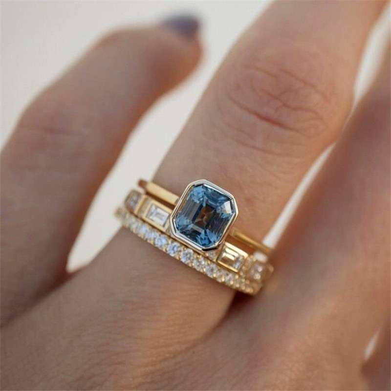 Elegant Female Square Crystal Stone Ring Set Charm Gold Color Engagement Ring Luxury Zircon Geometry Wedding Rings For Women
