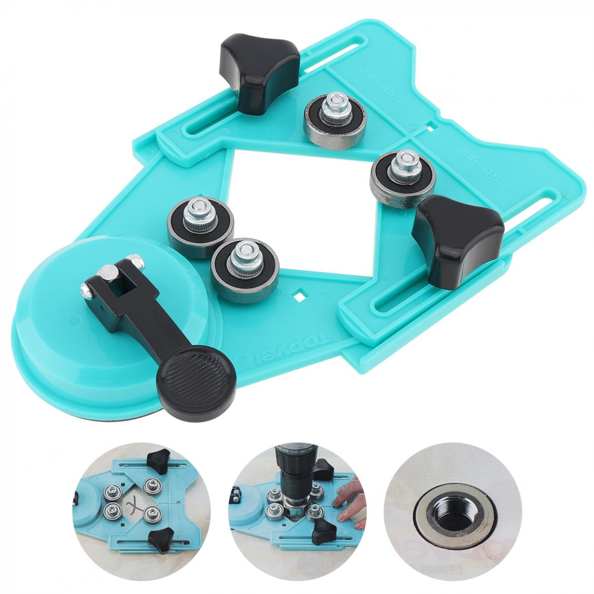 Portable Adjustable Engineering Plastic Tile Hole Locator With Rubber Suction Cup And 4-83mm Clamping Range Glass Tile Openings