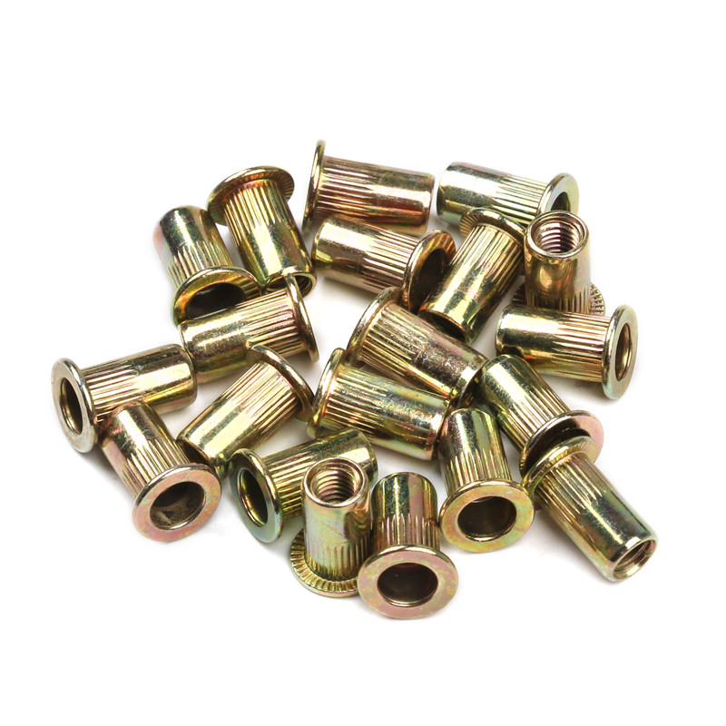 10/20PCS/set M3 M4 M6  Carbon Steel Rivet Nuts Flat Head Rivet Nuts Set Nuts Insert Riveting
