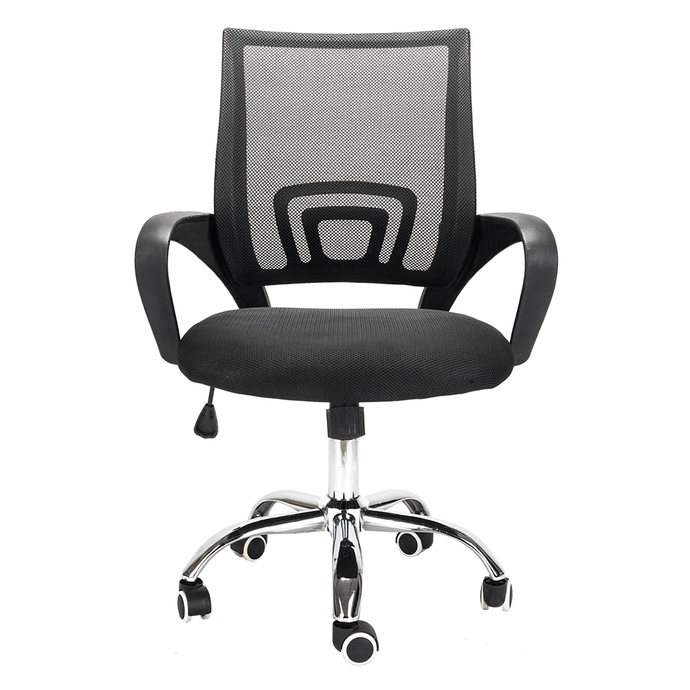 Computer Chair Mesh Gas Lift Adjustable Computer Office Swivel Chair With Rolling Wheels With Armrests