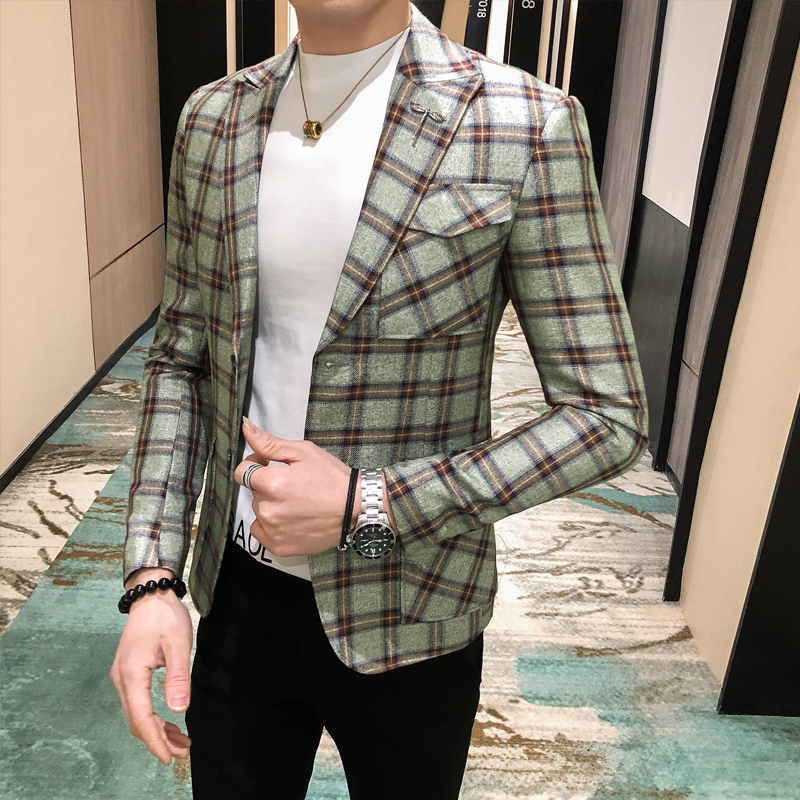 Plaid Blazer For Men Singers Casual Blazer M-3XL 2020 Spring Hot Sale Business Blazer Coat Mens Blazer Slim Fit  Masculino