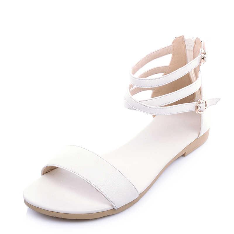 ผู้หญิงใหม่รองเท้ารองเท้าแตะหนังแท้รองเท้าฤดูร้อนรองเท้าแตะแบนรองเท้าสีดำสีขาวผู้หญิงขนาด 31-46