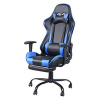 High Back Swivel Chair Racing Gaming Chair Office Chair with Footrest Tier Black & Blue Cumputer Chair 360 degree swivel