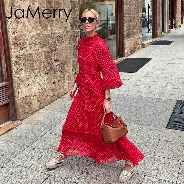Jamerryヴィンテージ秋の女性のパーティーロングマキシドレスエレガントなランタンスリーブポルカドットプリントドレス休日のビーチスタイルのドレス