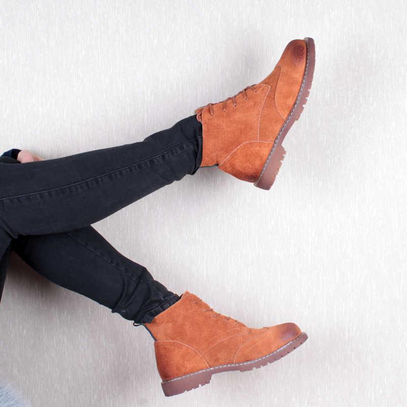 Vrouwen Schoenen 2020 Lente Echt Leer Vrouwelijke Martin Laarzen Suede Vrouwen Booties Britse Kant Retro Trend Vrouwen Naakt Laarzen