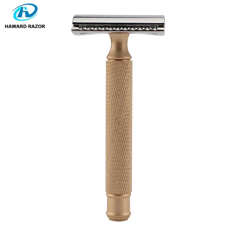 HAWARD Men's Safety Razor Retro Golden Double-edged Shaving Razor Zinc Alloy Head Classic Manual Razor For Shaving&Hair Removal