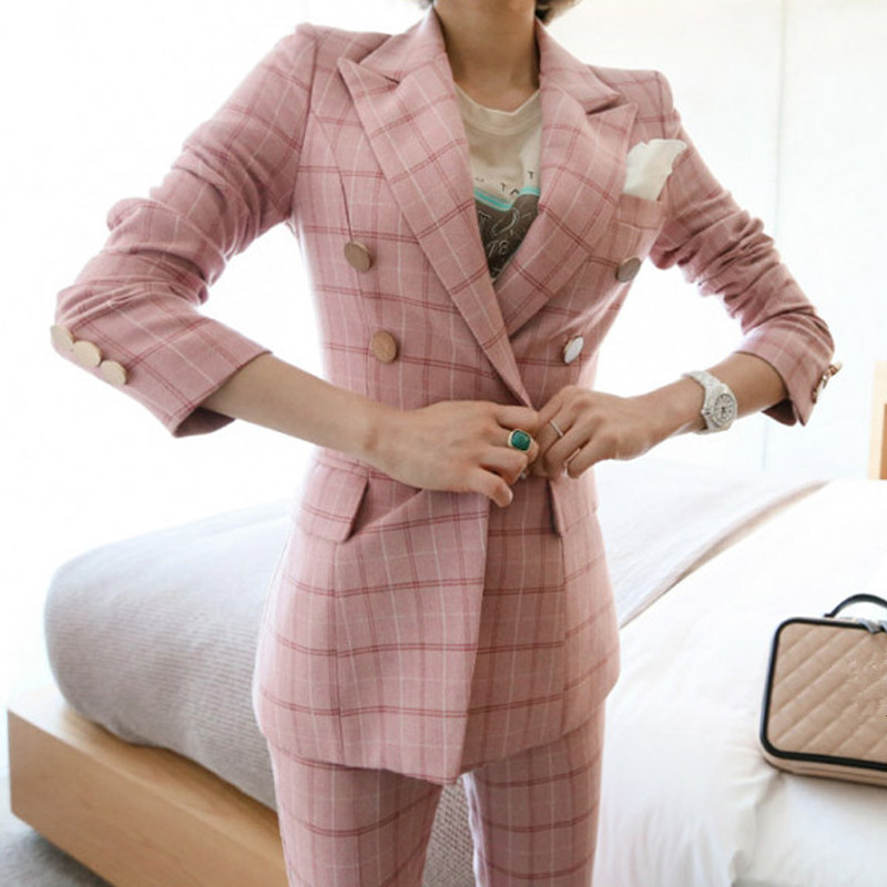 Brand Female Pants Set Women Double-breasted Blend Fabric Suit Coat And Foral Pencil Trousers Suit Office OL Women'S 2 PCS Set