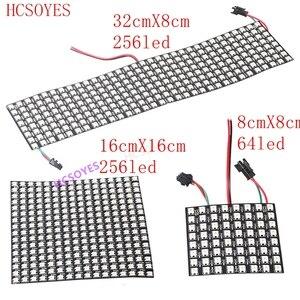 Image 1 - Module de panneau WS2812b Led, 8x8/8x3 2/16x16 Pixels, individuellement adressable, écran polychrome LED dissipateur thermique, affichage numérique Boa