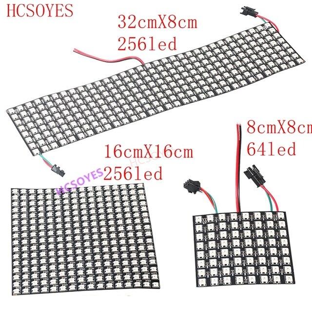 Module de panneau WS2812b Led, 8x8/8x3 2/16x16 Pixels, individuellement adressable, écran polychrome LED dissipateur thermique, affichage numérique Boa