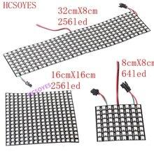 WS2812b светодиодный панельный модуль 8x 8/8x3 2/16x16 пикселей индивидуально адресуемый полноцветный экран светодиодный радиатор цифровой DIY дисплей Boa