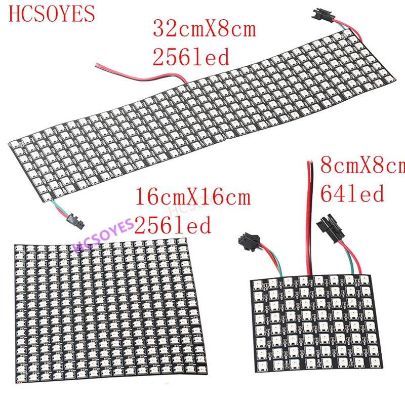 WS2812b Led Panel Module 8x8/8x32/16x16 Pixels Individually Addressable Full Color Screen LED Heatsink Digital DIY Display Boa
