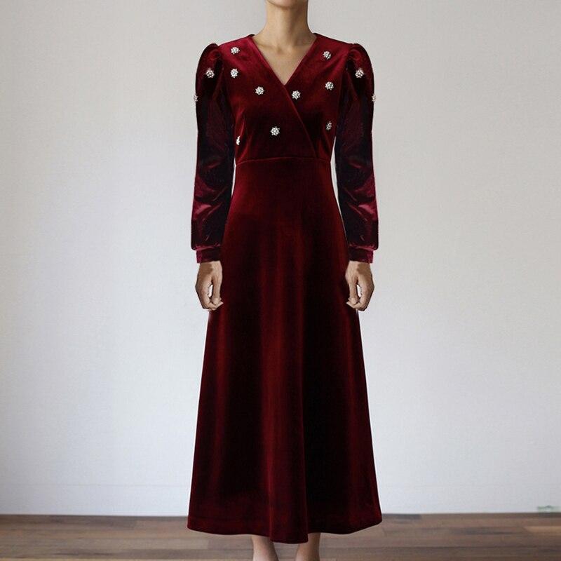 2020 nouveau printemps perle fleur Vintage femmes robes col en v mode longue élégance rouge velours Empire manches bouffantes mince vêtements