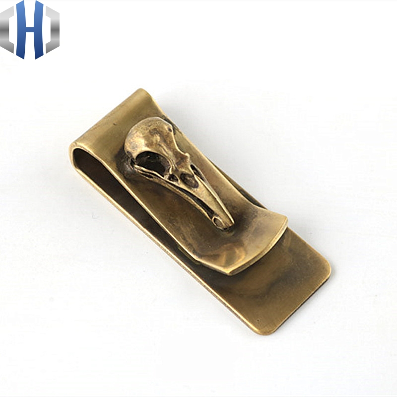 Metal Portable Creative Brass Bird Skull Portable EDC Creative Coin Purse Ticket Holder Banknote Card Holder