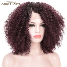 I's a wig Short Lace Front Afro Kinky Curly Wig Synthetic La