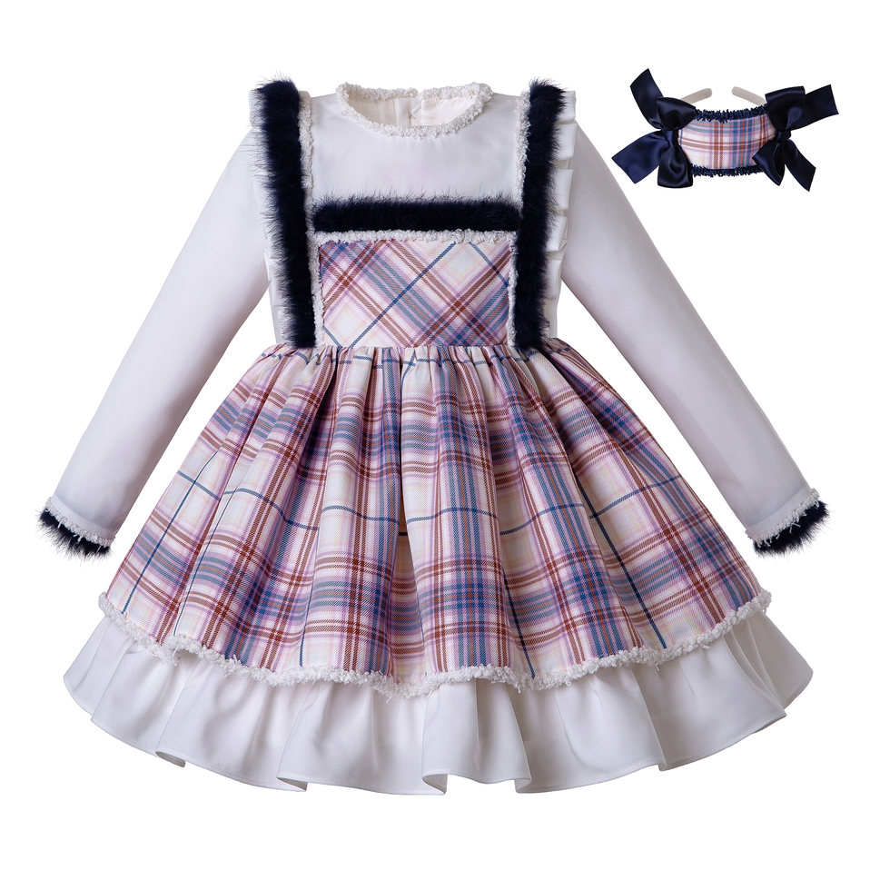 Pettigirl Autumn And Spring Lovely Plaid Faux Fur dresses For Girls Clothing With Bows
