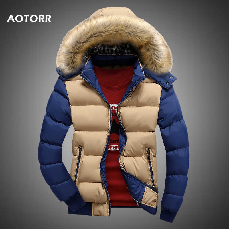 Men Down Jacket Winter New Male Casual Hooded Outwears Coat Warm Fur Parka Overcoat Men's Solid Thick Fleece Zipper Jackets 2019