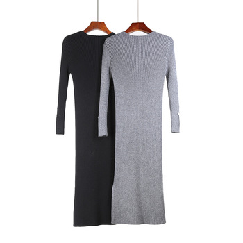 HLBCBG Women Autumn Winter Long sleeve Sweater Knitted Dress Thick Warm Knee-length Long Dress Rib Slim Female Dress ruched knee length smock dress