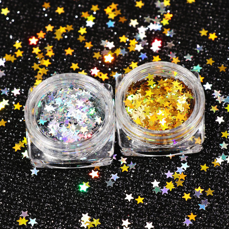3mm x 3mm cinco estrelas fina arte do prego glitter decoração colorida diy glitter paillette design da arte do prego dicas de lantejoulas