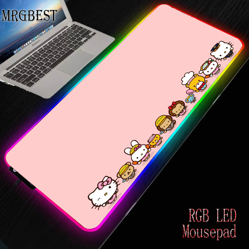 MRGBEST Hello Kitty Pink Durable Rubber PC Laptop Anti-slip Mouse Pad RGB Colorful LED Lighting Game Player Lock Edge Desk Pad L
