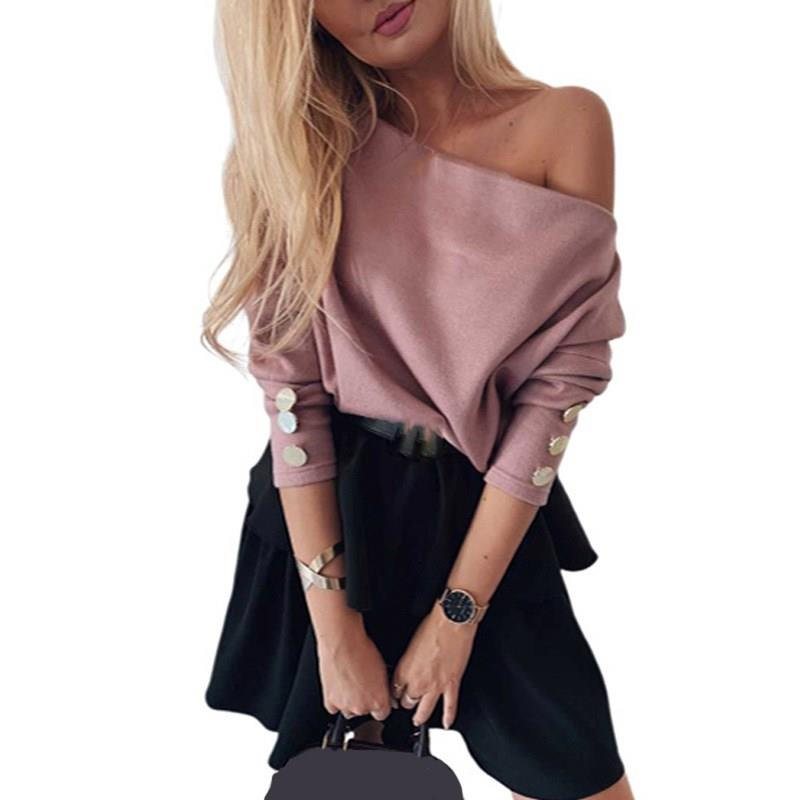 Fall Women Party Long Sleeve Slash Neck Sexy Sweater Elegant Solid Knitted Pullovers Casual Streetwear Button Loose Sweaters