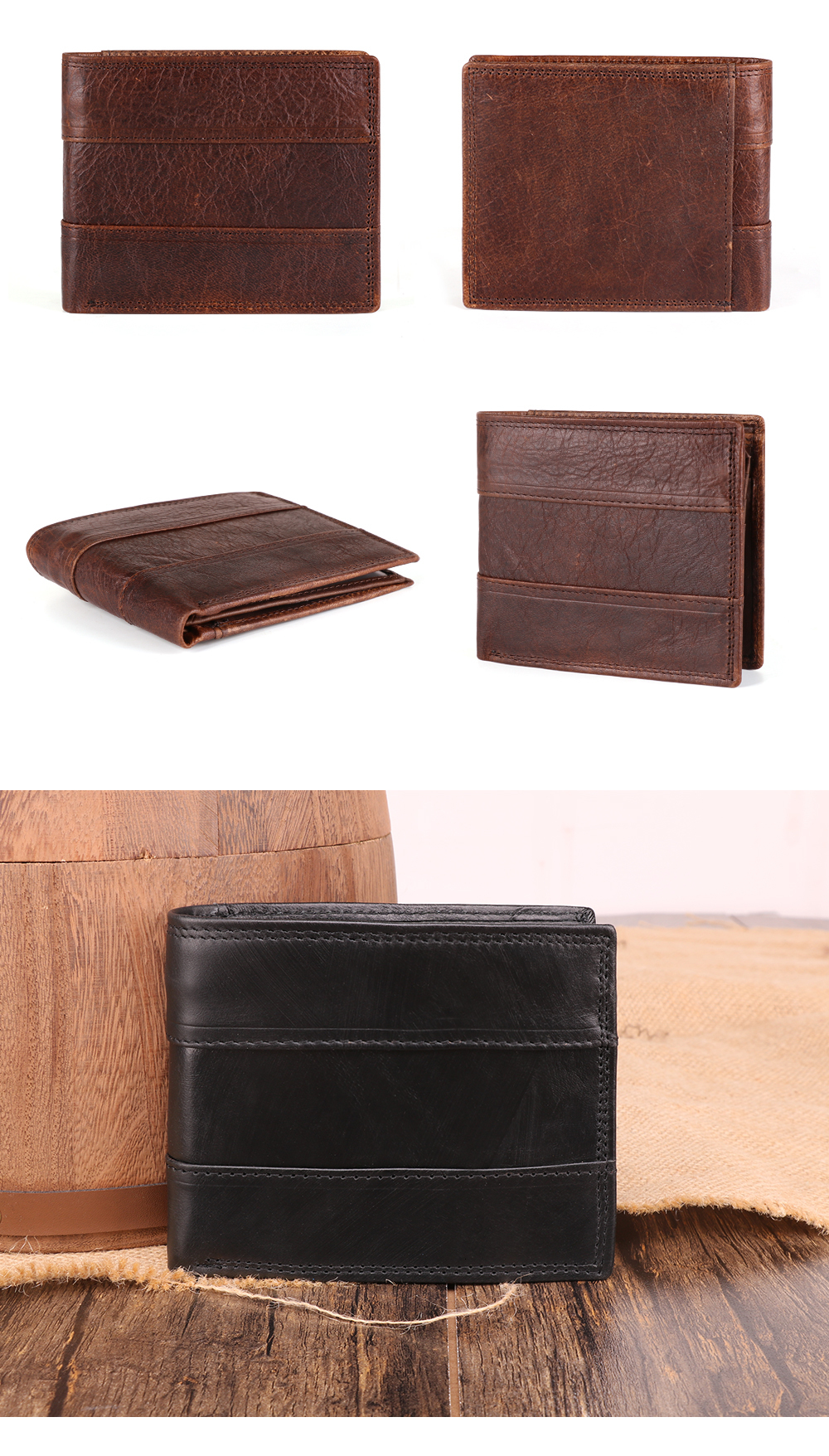 Ha568615c15824fbaa3f5c8a03523002ed - GENODERN Cow Leather Men Wallets with Coin Pocket Vintage Male Purse Function Brown Genuine Leather Men Wallet with Card Holders