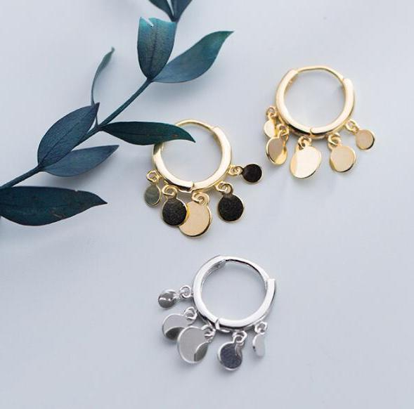 8 мм маленький bohi реальный. 925 пробы серебряные ювелирные украшения белый/золотой полированный диск монета круглое кольцо с кисточкой huggie се...