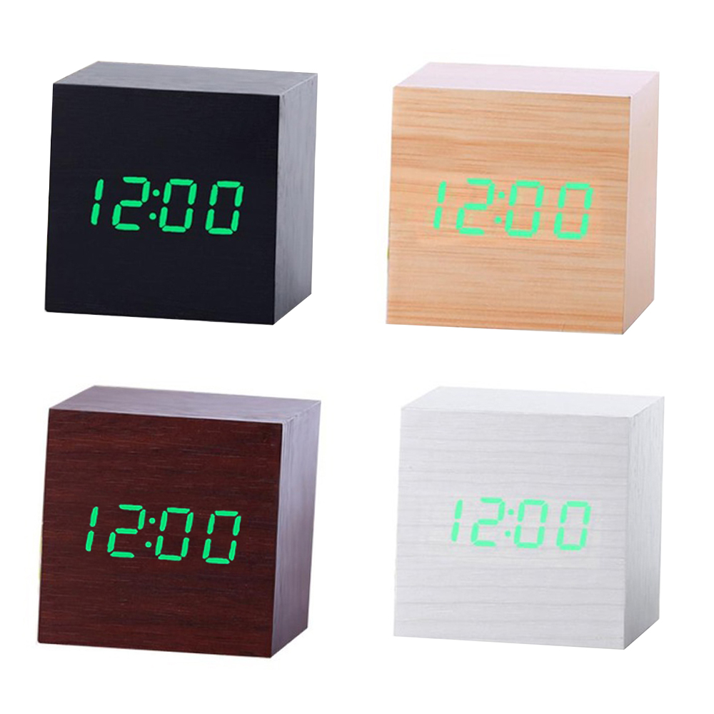 Multicolor Sound Control Wooden Wood Square LED Alarm Clock Desktop Table Digital Thermometer Wood USB/AAA Date Display Clocks
