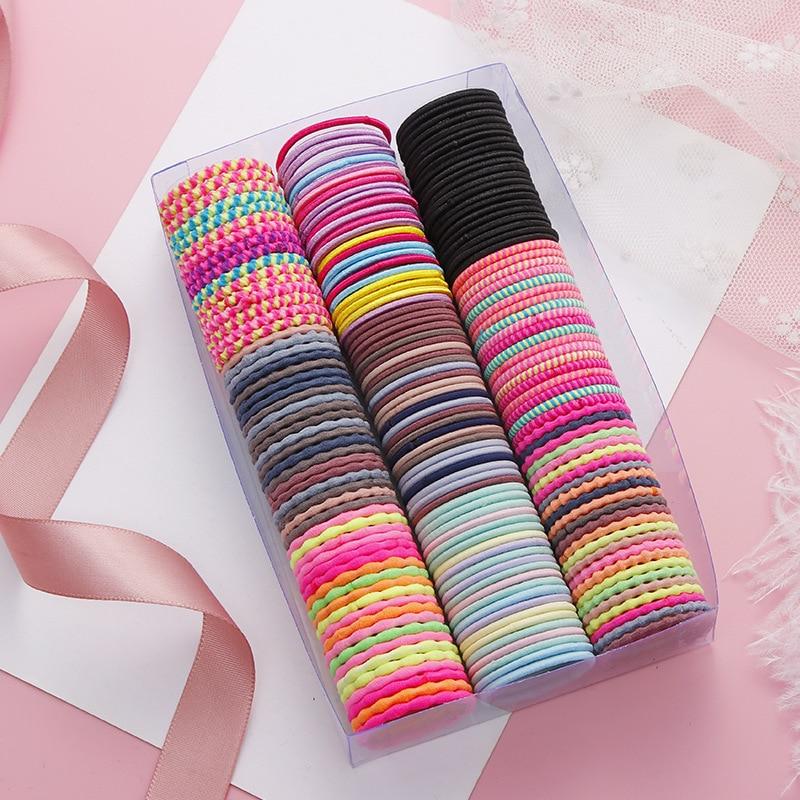 50pcs /lot New Nylon Girls Cute Color Elastic Hairband Binding Elastic Rubber Band Girl Fashion Ponytail Holder Hair Accessories