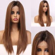 EASIHAIR-peluca con malla frontal para mujer, larga, sedosa, recta, marrón, pelo de bebé, alta densidad, resistente al calor, sintética