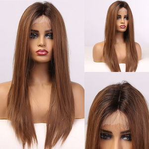 EASIHAIR Long Silky Straight Brown Lace Front Wig with Baby Hair High Density Heat Resistant Synthetic Wigs for Women