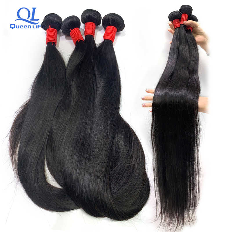Queenlife 30 inch 32 34 36 38 40 inch Bundles Silky Straight Peruvian Human Hair Bundles Remy hair weave Long hair Extensions