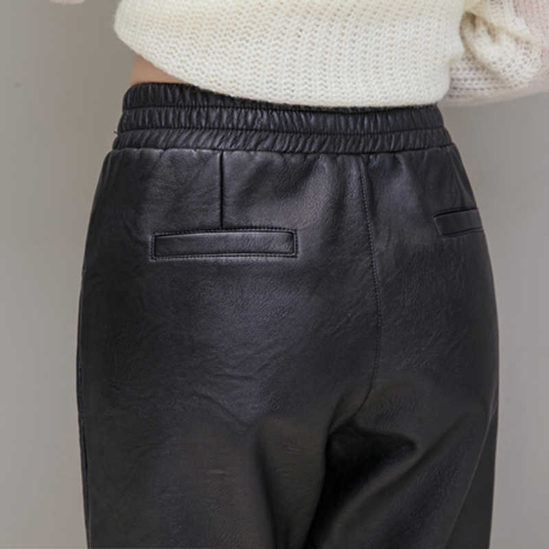 冬長ズボン女性 pu レザー鉛筆のズボン弾性ウエスト厚いビロード女性レザーパンツをのど 2019